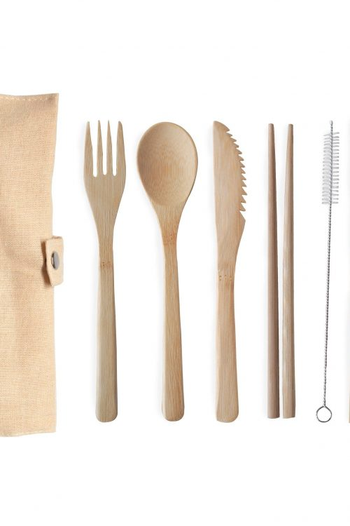 Reuseable Bamboo Cutlery Set White