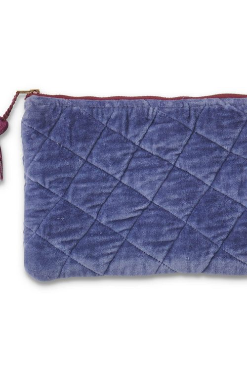 Kipandco Ss21 Dusk Quilted Velvet Cosmetics Purse