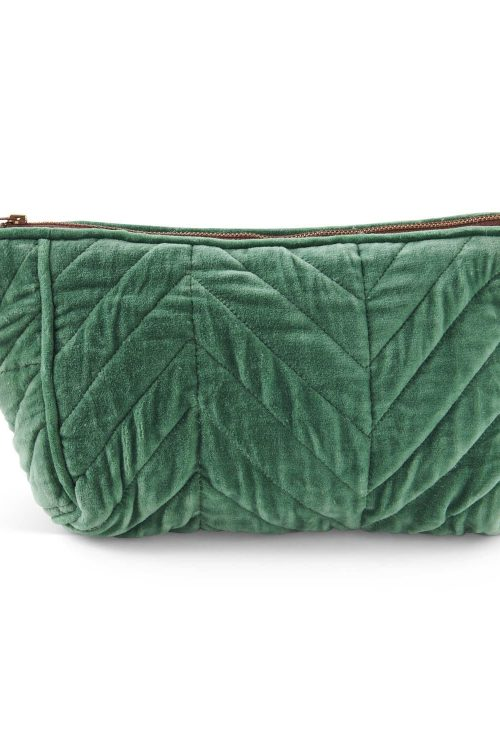Kipandco Ss21 Jaded Quilted Velvet Toiletry Bag