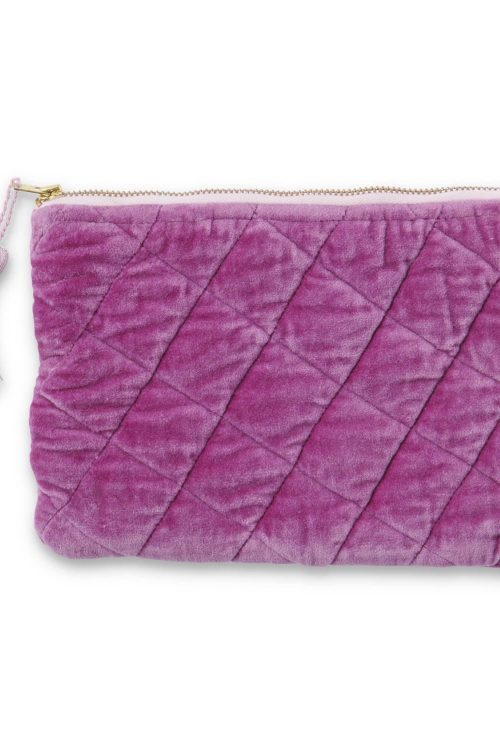 Kipandco Ss21 Kissable Quilted Velvet Cosmetics Purse