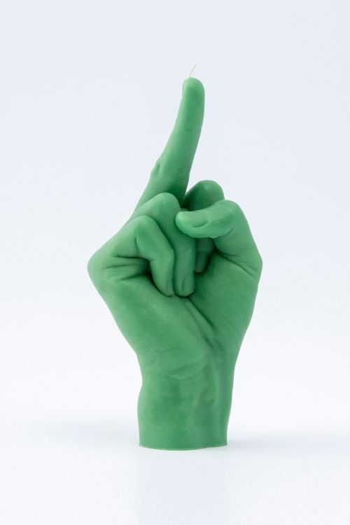 """""""fcuk"""" Hand Gesture Candle Green"""