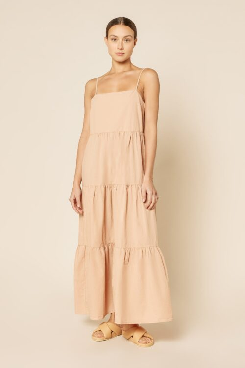 Odessa Poplin Maxi Dress Clay Nude Lucy Front